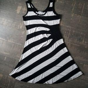 Calvin Klein Black White Stipe Accent Tank Dress